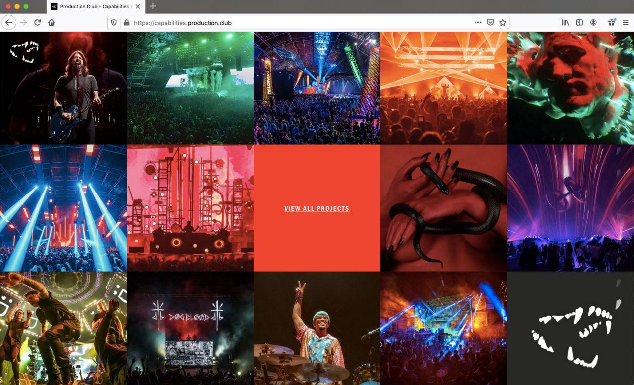 Production Club LA Website Development