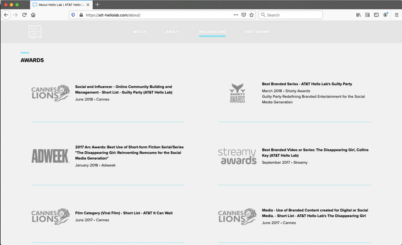 Hello Lab Show Awards Page