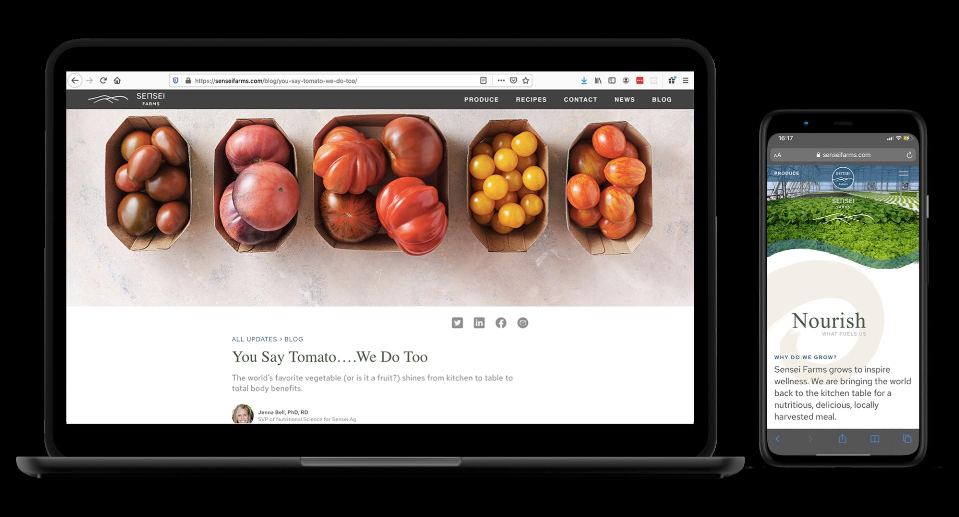 Sensei Farms Agriculturial Website Developemtn
